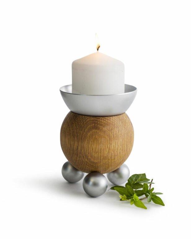 Oak kynttilänjalka tammea/metallia
