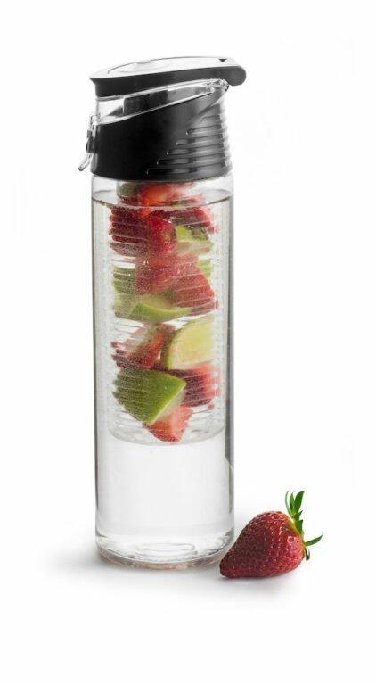 Fresh juomapullo 0,75 l hedelmäpatruunalla, musta