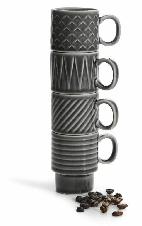 Coffee & More Espressomuki harmaa, 4 kpl
