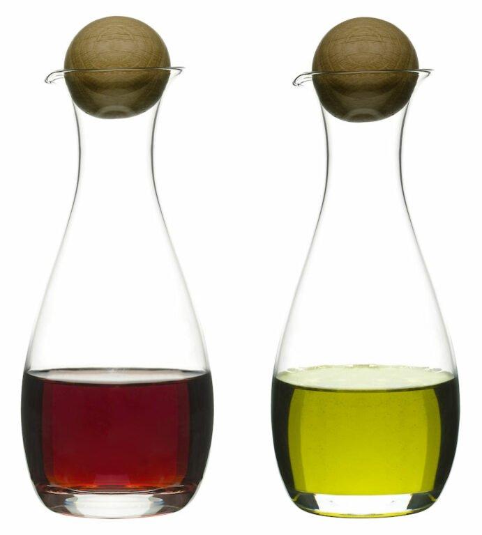 Oak öljy-/viinietikkapullot, 2 osaa, tammikorkilla